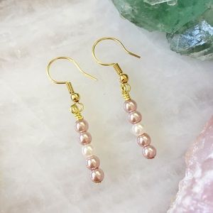 18K Gold and Pearl Bar Earrings • PINK CHAMPAGNE 5